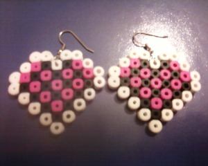 Heart Earrings Made With Perler Beads