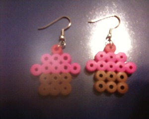 Cupcake Earrings Done with Perler Beads